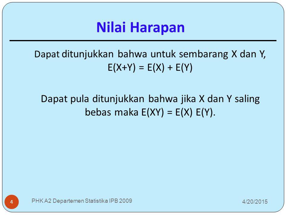 Dapat ditunjukkan bahwa untuk sembarang X dan Y, E(X+Y) = E(X) + E(Y)