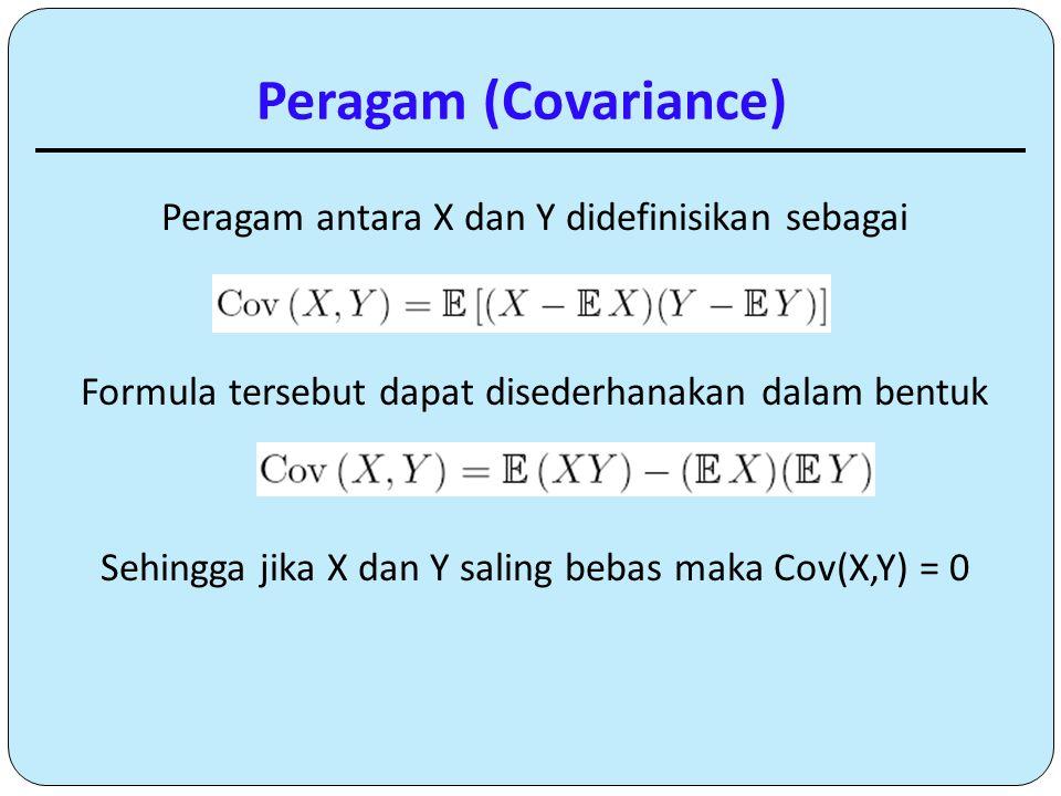 Peragam (Covariance) Peragam antara X dan Y didefinisikan sebagai