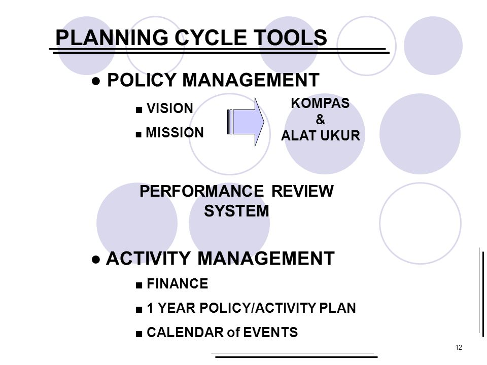 PLANNING CYCLE TOOLS ● POLICY MANAGEMENT ● ACTIVITY MANAGEMENT