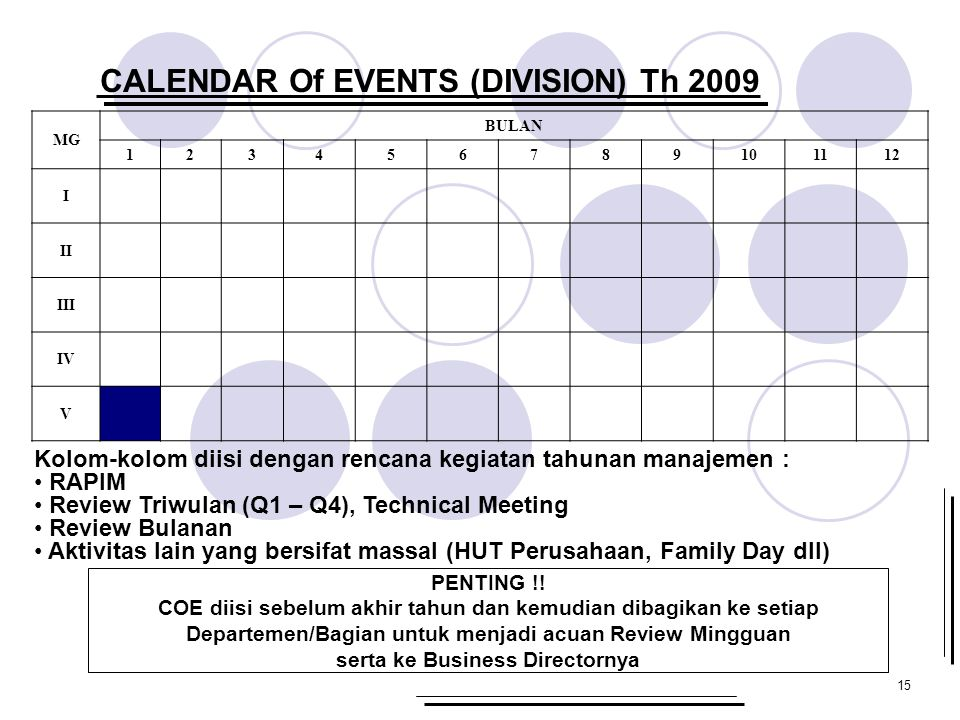 CALENDAR Of EVENTS (DIVISION) Th 2009