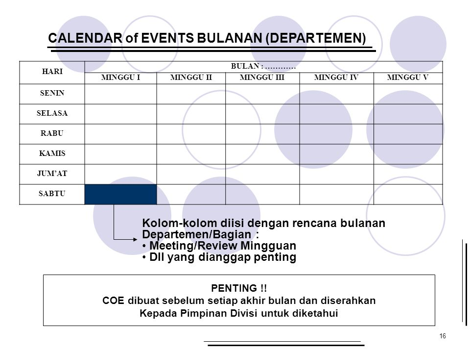 CALENDAR of EVENTS BULANAN (DEPARTEMEN)