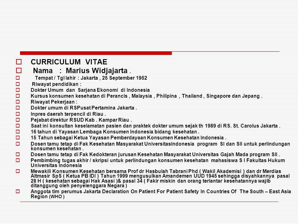 Nama : Marius Widjajarta .