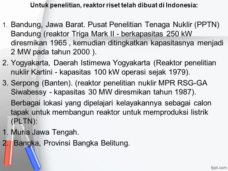 Untuk penelitian, reaktor riset telah dibuat di Indonesia: