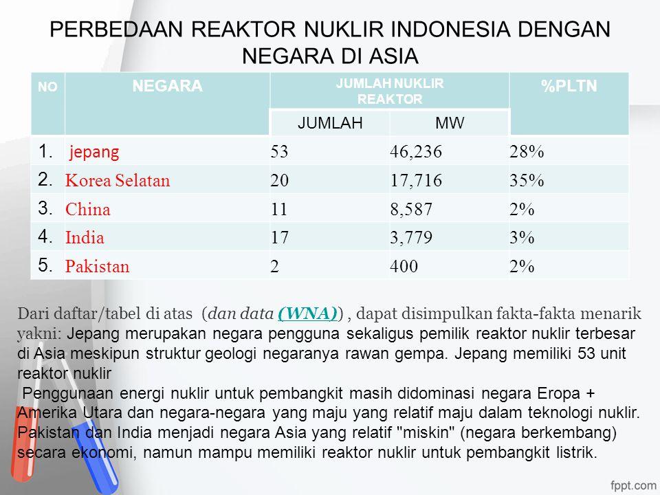 PERBEDAAN REAKTOR NUKLIR INDONESIA DENGAN NEGARA DI ASIA