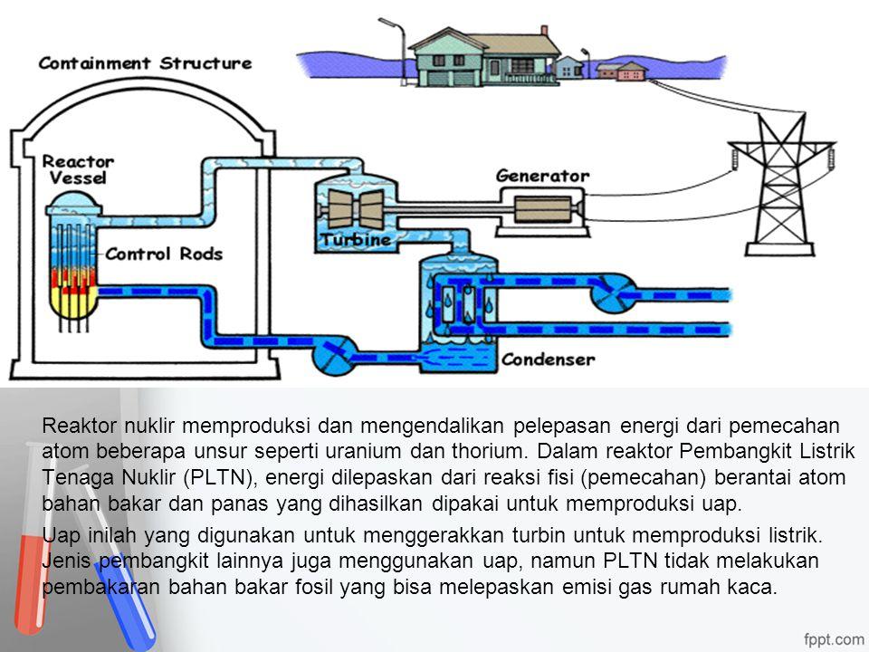 Reaktor nuklir memproduksi dan mengendalikan pelepasan energi dari pemecahan atom beberapa unsur seperti uranium dan thorium.