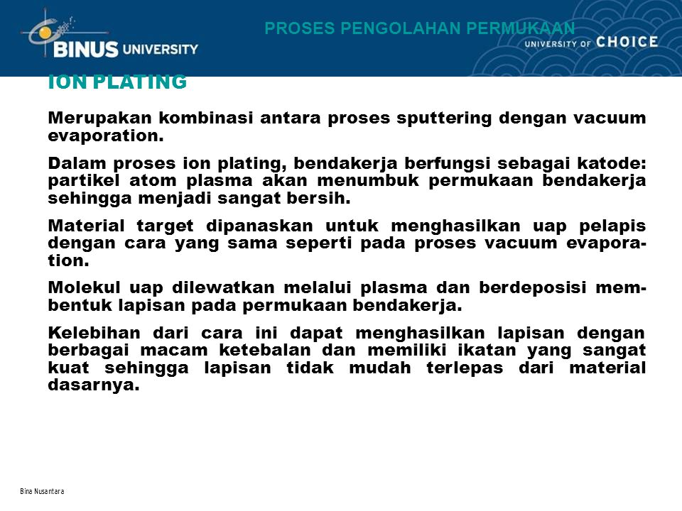 ION PLATING PROSES PENGOLAHAN PERMUKAAN