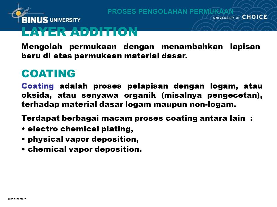 LAYER ADDITION COATING