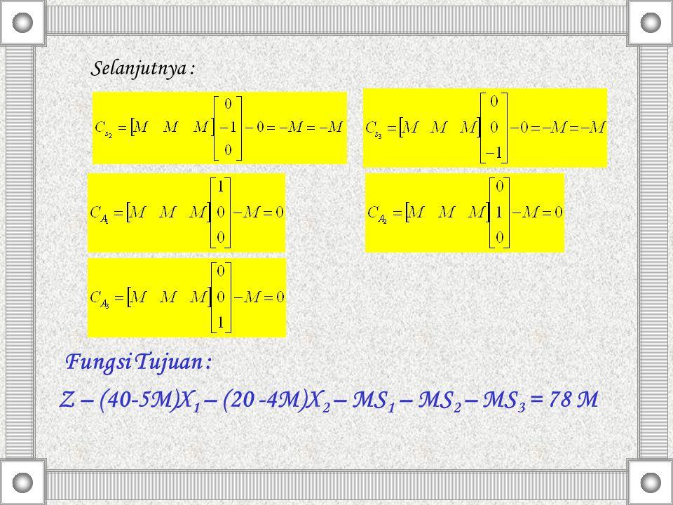 Z – (40-5M)X1 – (20 -4M)X2 – MS1 – MS2 – MS3 = 78 M