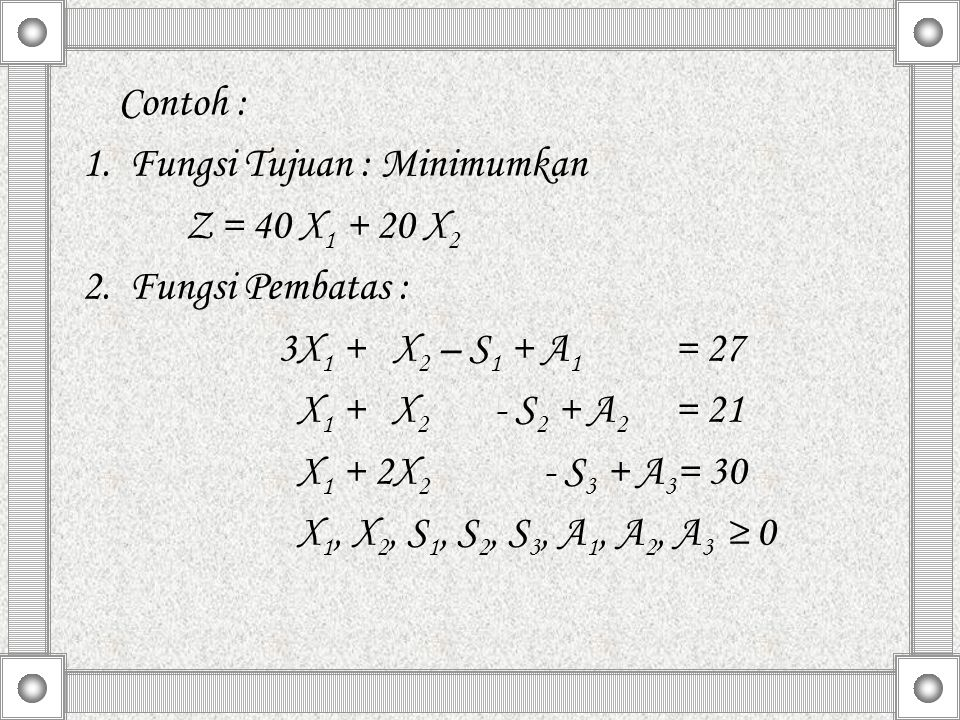 Contoh : 1. Fungsi Tujuan : Minimumkan. Z = 40 X1 + 20 X2. 2. Fungsi Pembatas : 3X1 + X2 – S1 + A1 = 27.