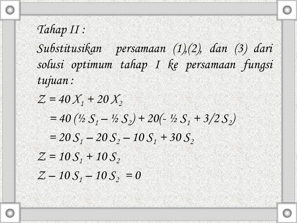 Tahap II : Substitusikan persamaan (1),(2), dan (3) dari solusi optimum tahap I ke persamaan fungsi tujuan :