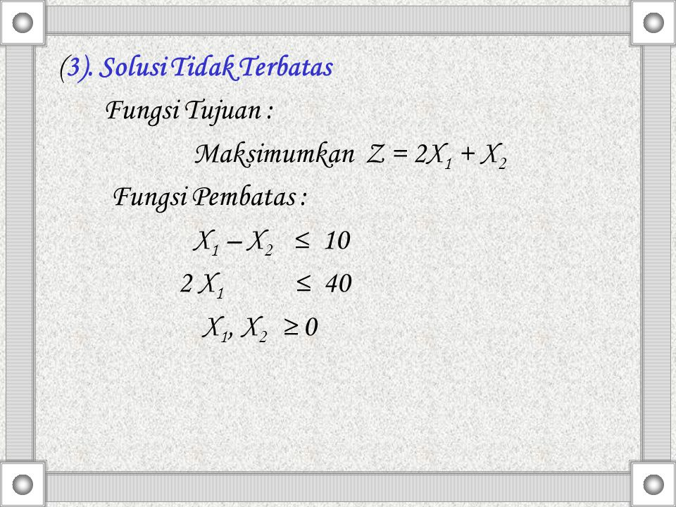 (3). Solusi Tidak Terbatas