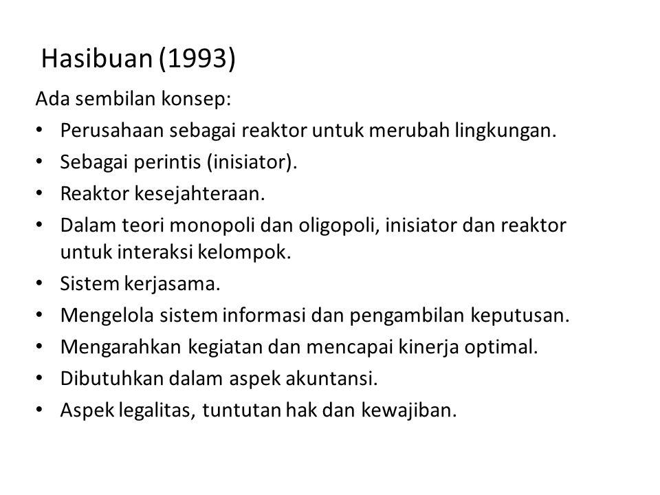 Hasibuan (1993) Ada sembilan konsep: