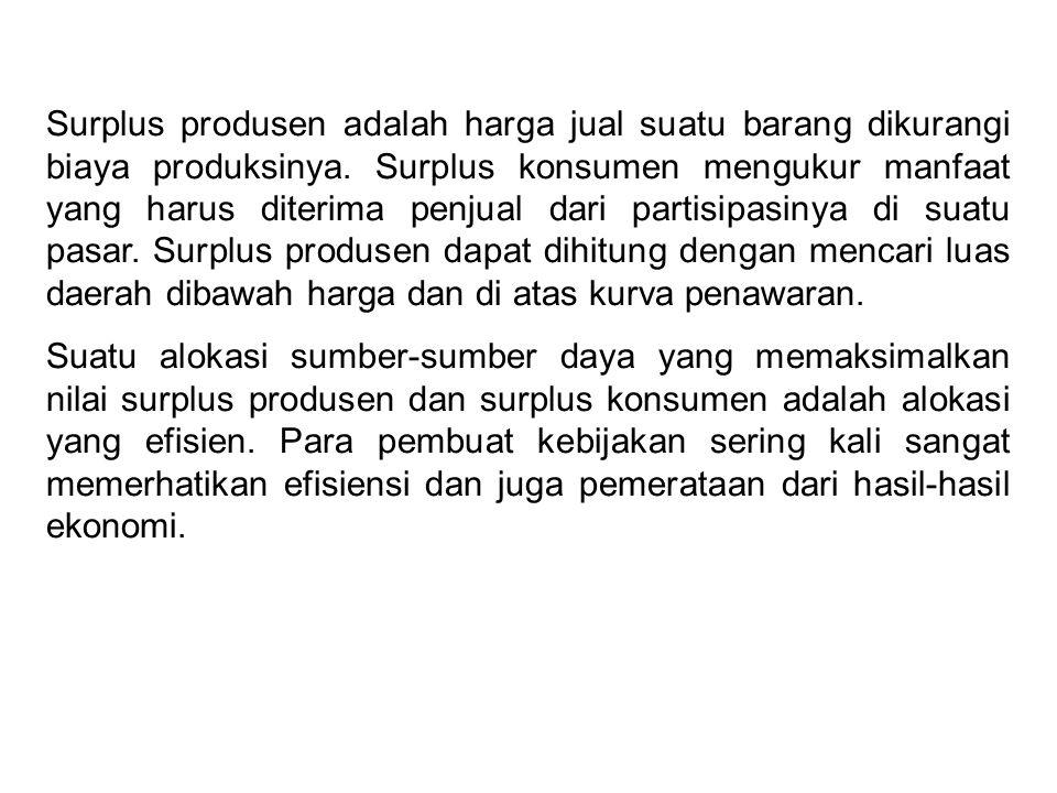 Surplus produsen adalah harga jual suatu barang dikurangi biaya produksinya. Surplus konsumen mengukur manfaat yang harus diterima penjual dari partisipasinya di suatu pasar. Surplus produsen dapat dihitung dengan mencari luas daerah dibawah harga dan di atas kurva penawaran.