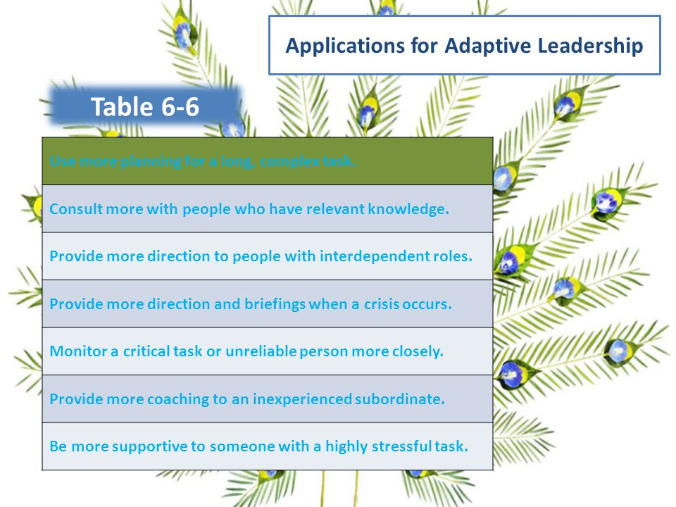 Applications for Adaptive Leadership