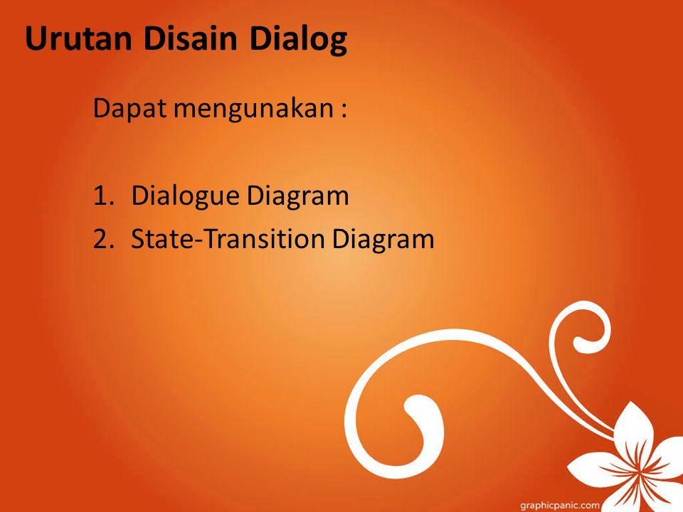 Urutan Disain Dialog Dapat mengunakan : Dialogue Diagram