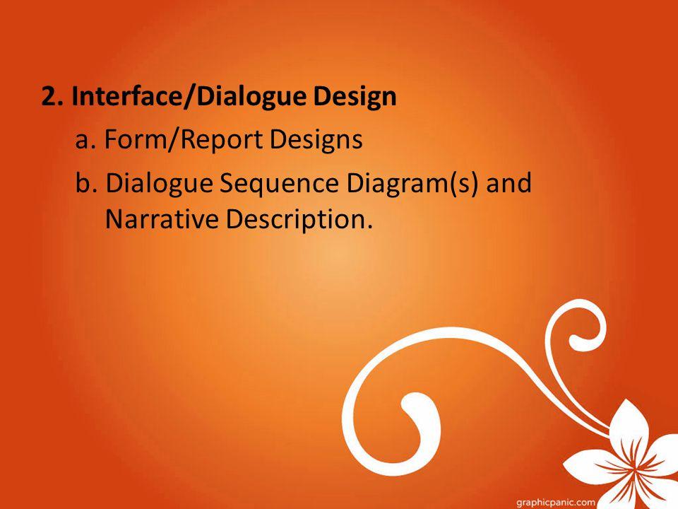 2. Interface/Dialogue Design a. Form/Report Designs b