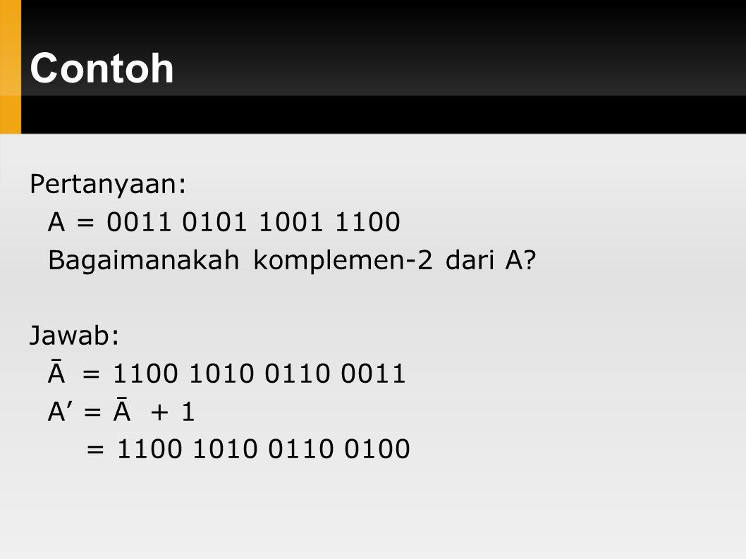 Contoh Pertanyaan: A = 0011 0101 1001 1100. Bagaimanakah komplemen-2 dari A Jawab: Ā = 1100 1010 0110 0011.