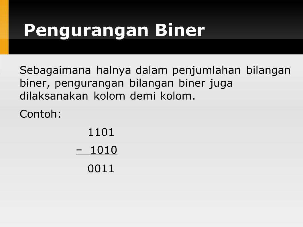 Pengurangan Biner Sebagaimana halnya dalam penjumlahan bilangan biner, pengurangan bilangan biner juga dilaksanakan kolom demi kolom.