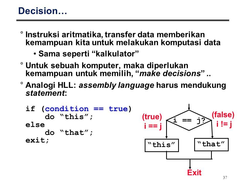 Decision… Instruksi aritmatika, transfer data memberikan kemampuan kita untuk melakukan komputasi data.