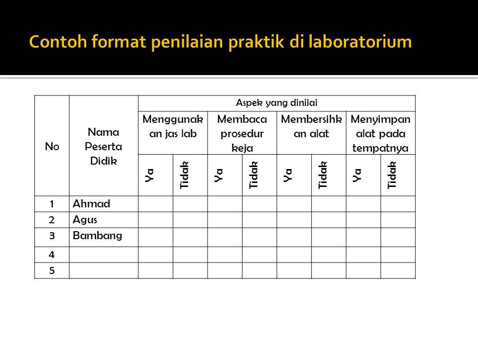 Contoh format penilaian praktik di laboratorium