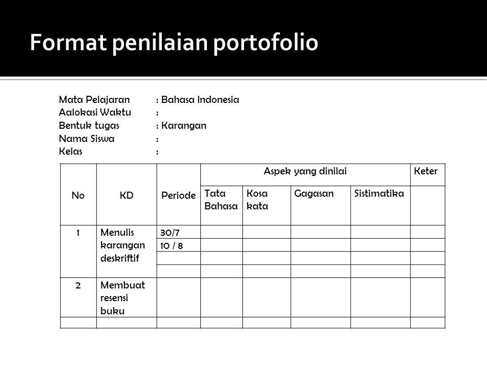Format penilaian portofolio