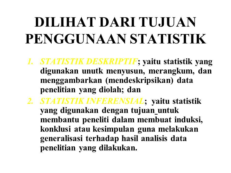 DILIHAT DARI TUJUAN PENGGUNAAN STATISTIK