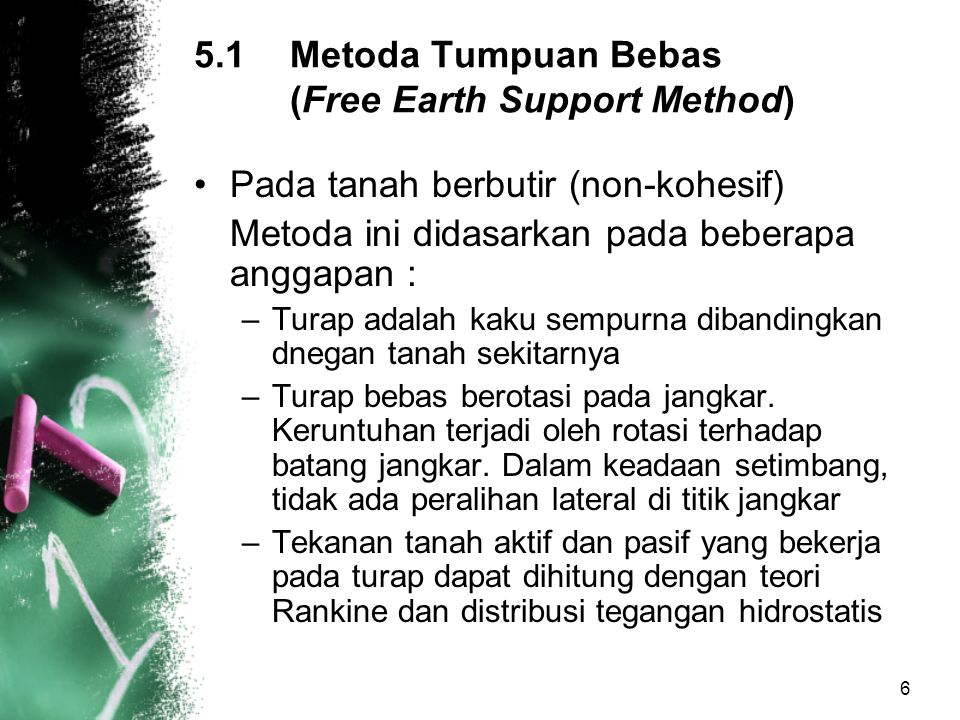5.1 Metoda Tumpuan Bebas (Free Earth Support Method)