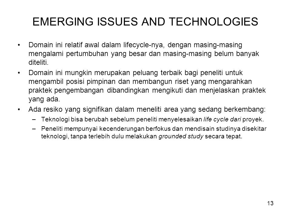 EMERGING ISSUES AND TECHNOLOGIES