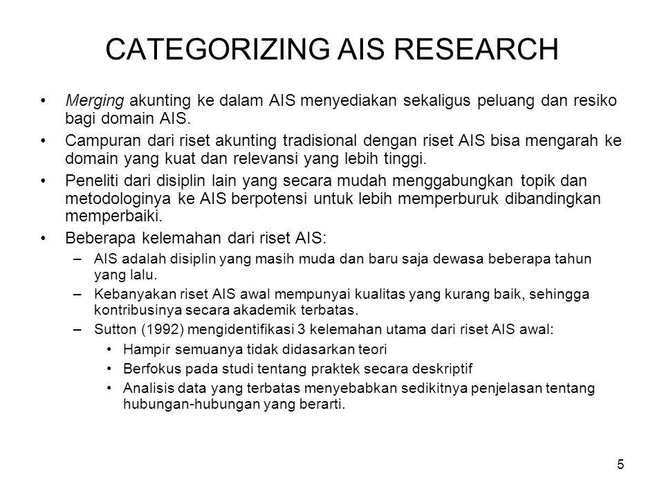 CATEGORIZING AIS RESEARCH