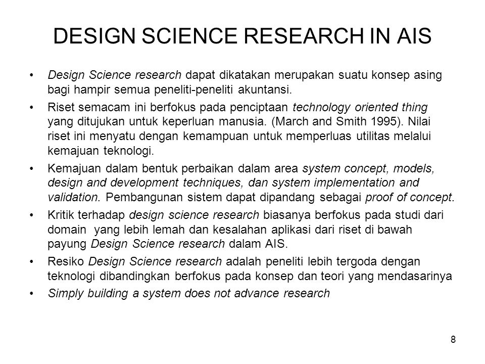 DESIGN SCIENCE RESEARCH IN AIS