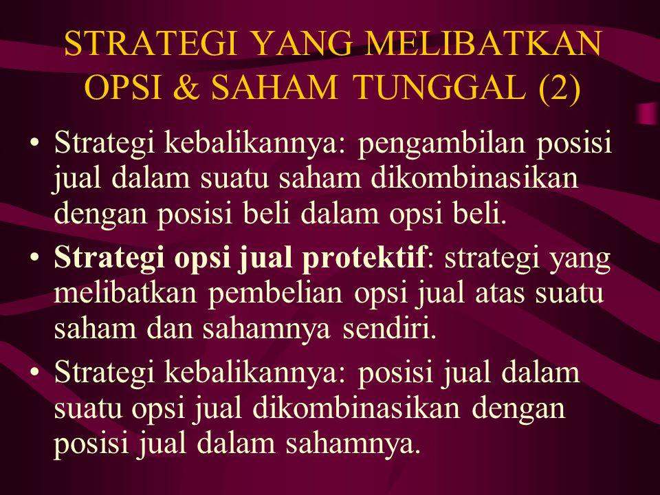 STRATEGI YANG MELIBATKAN OPSI & SAHAM TUNGGAL (2)