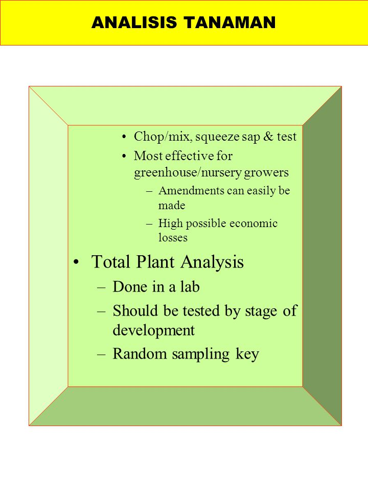 Total Plant Analysis ANALISIS TANAMAN Done in a lab