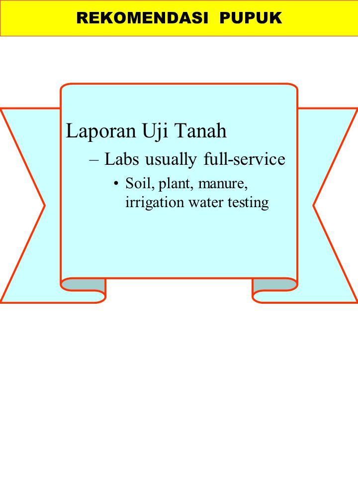 Laporan Uji Tanah Labs usually full-service REKOMENDASI PUPUK