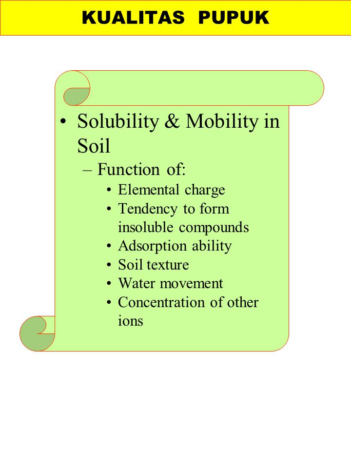 Solubility & Mobility in Soil