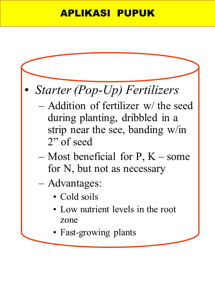 Starter (Pop-Up) Fertilizers