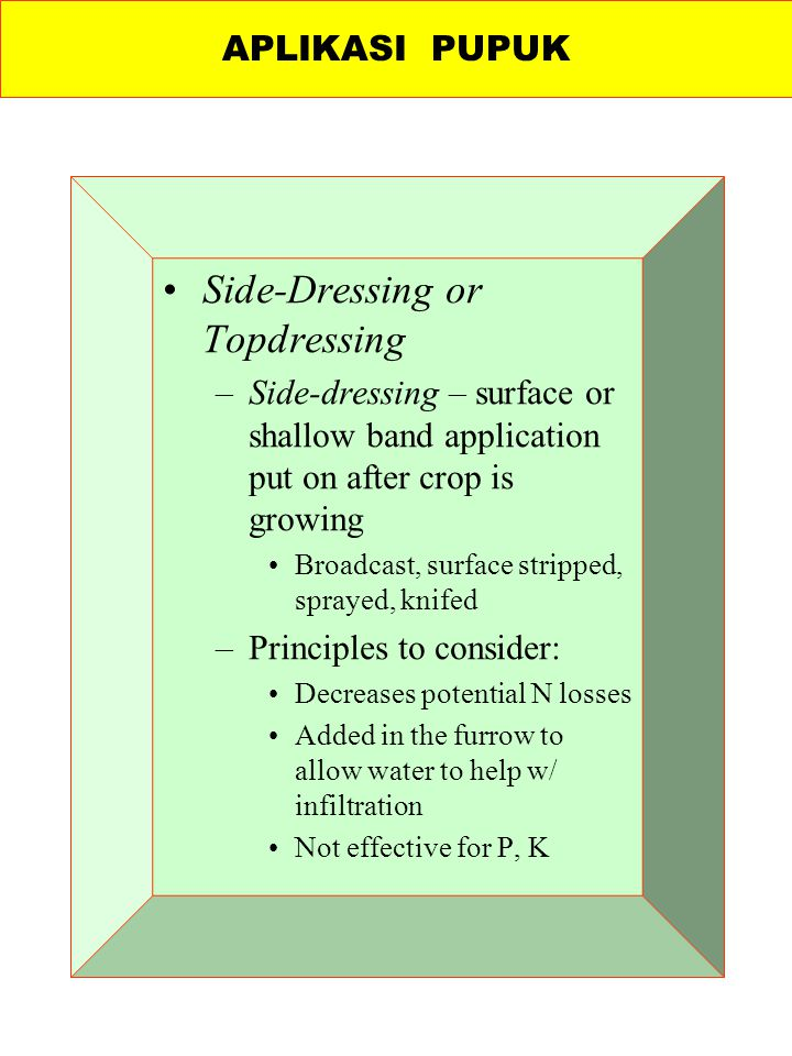 Side-Dressing or Topdressing