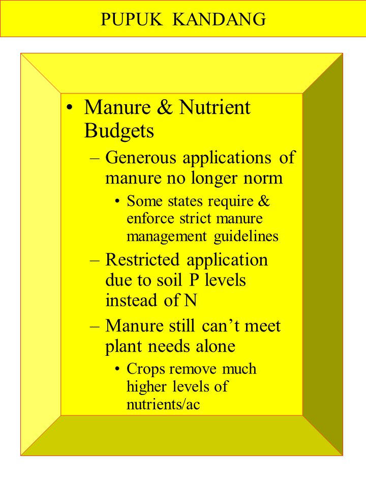 Manure & Nutrient Budgets