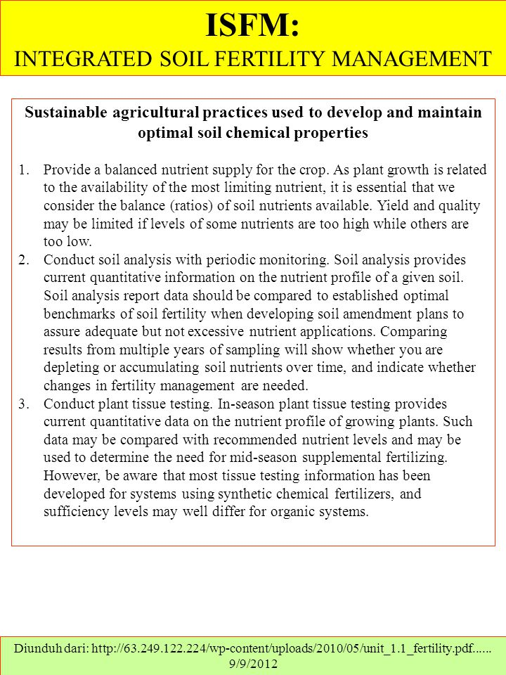 INTEGRATED SOIL FERTILITY MANAGEMENT