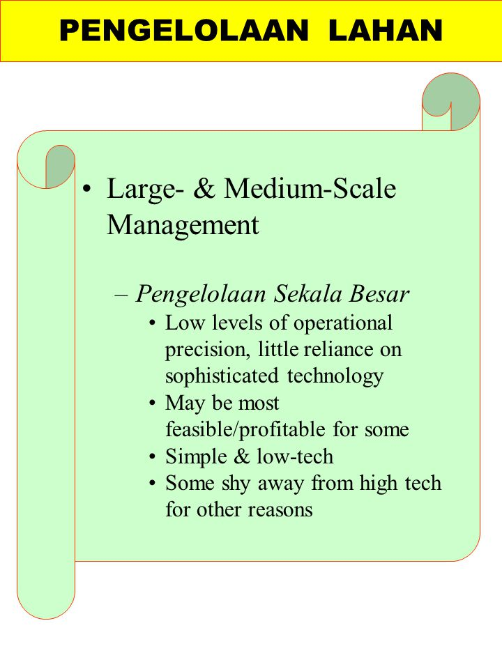 Large- & Medium-Scale Management