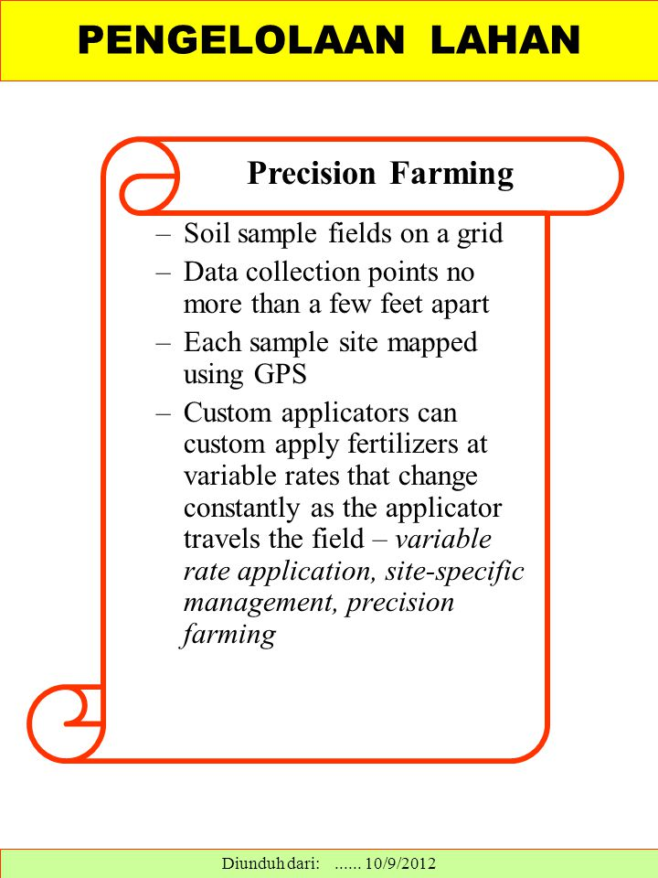 PENGELOLAAN LAHAN Precision Farming Soil sample fields on a grid