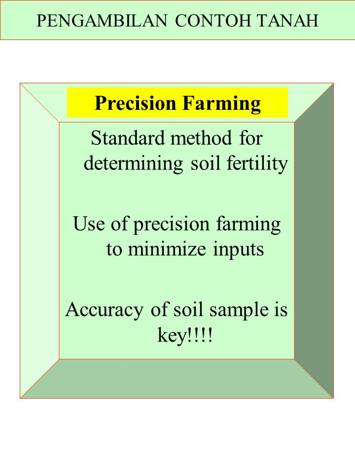 Standard method for determining soil fertility