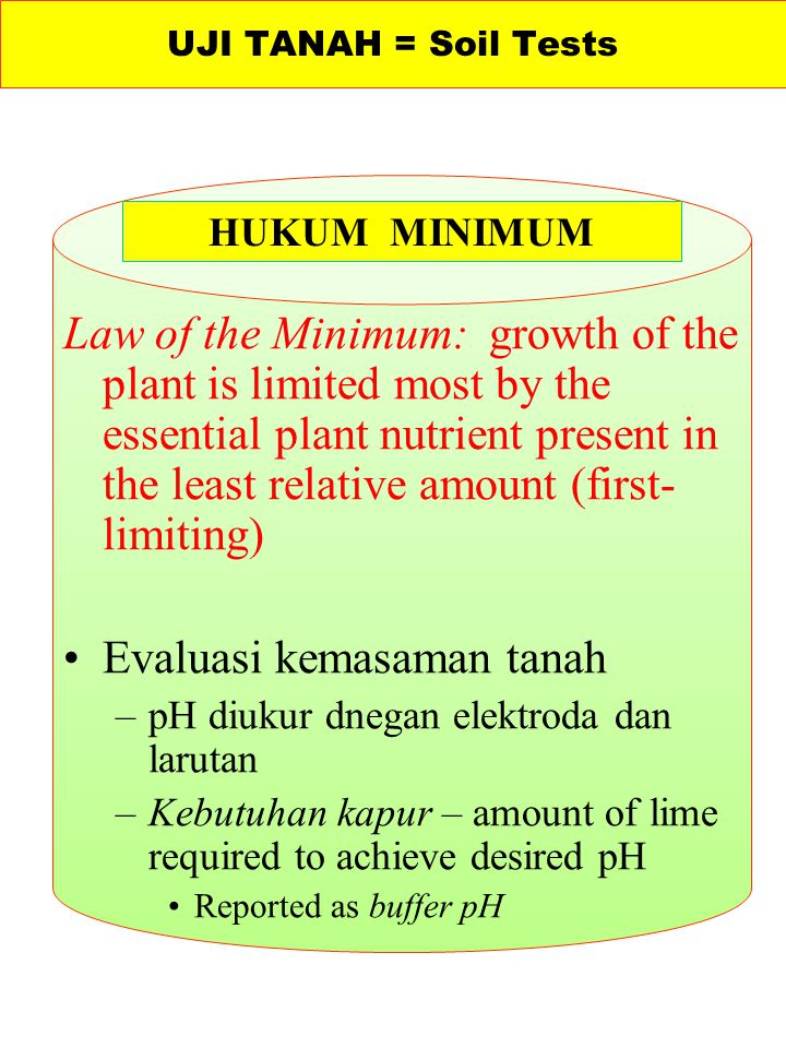 Evaluasi kemasaman tanah