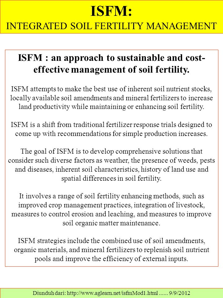 ISFM: INTEGRATED SOIL FERTILITY MANAGEMENT