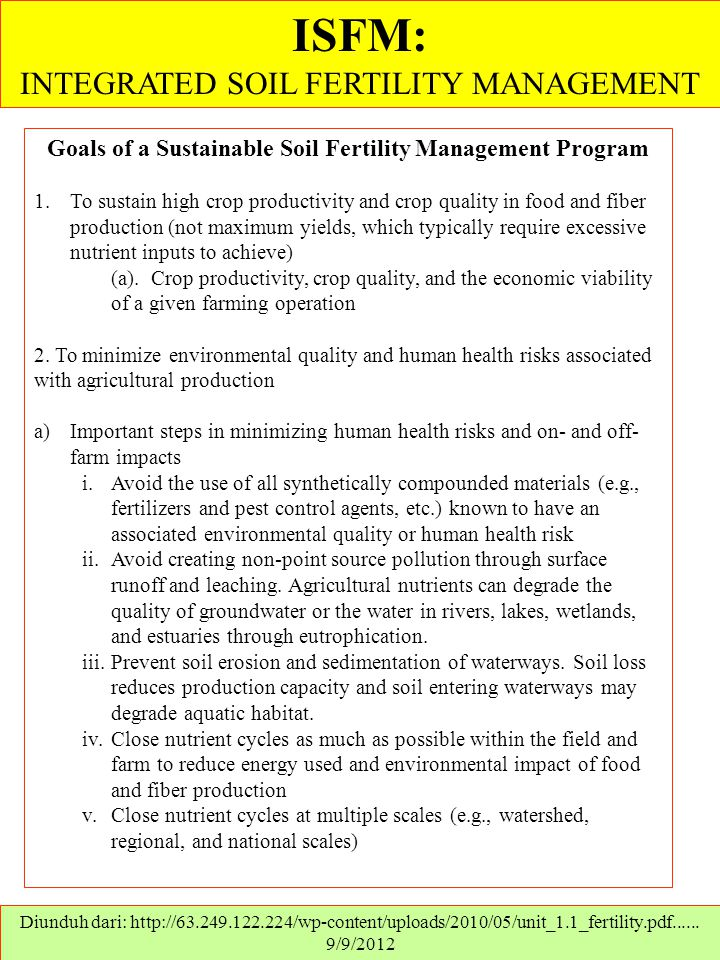 Goals of a Sustainable Soil Fertility Management Program