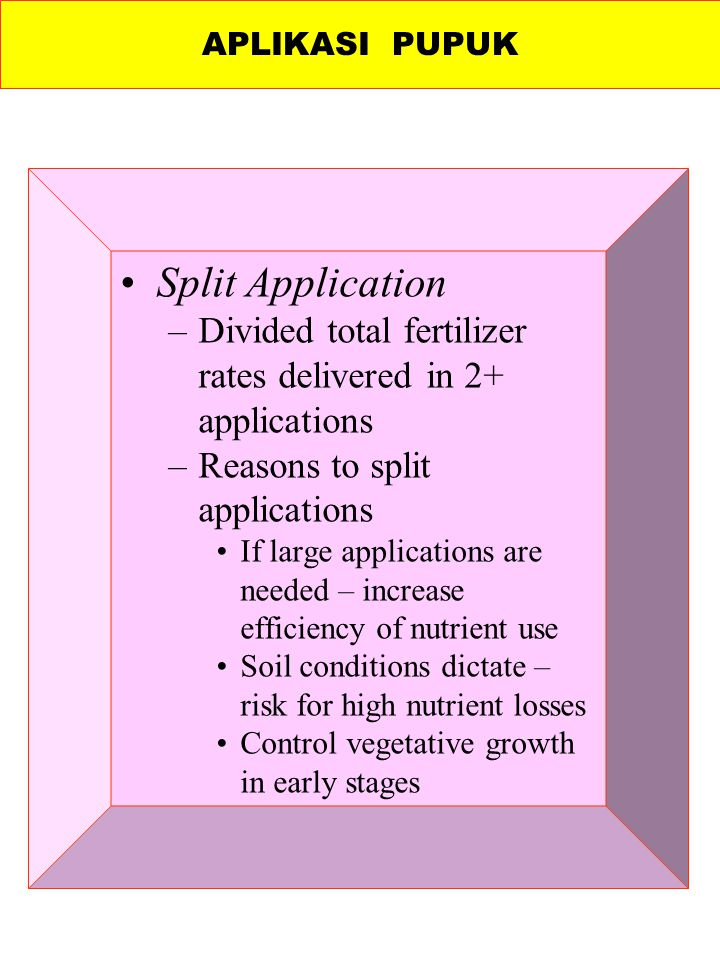 APLIKASI PUPUK Split Application. Divided total fertilizer rates delivered in 2+ applications. Reasons to split applications.