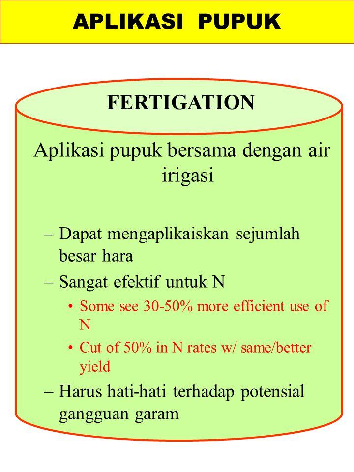 Aplikasi pupuk bersama dengan air irigasi