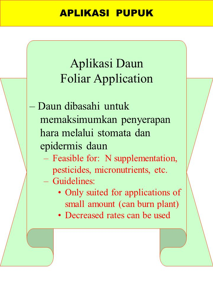Aplikasi Daun Foliar Application