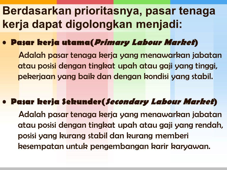 Berdasarkan prioritasnya, pasar tenaga kerja dapat digolongkan menjadi: