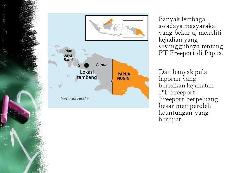 Banyak lembaga swadaya masyarakat yang bekerja, meneliti kejadian yang sesungguhnya tentang PT Freeport di Papua.