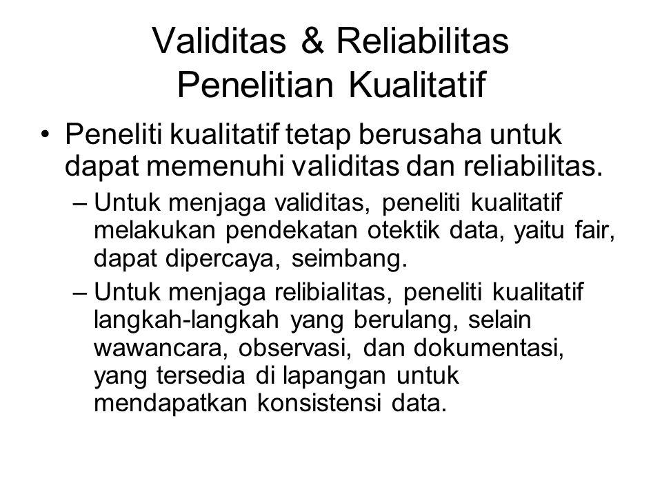 Validitas & Reliabilitas Penelitian Kualitatif